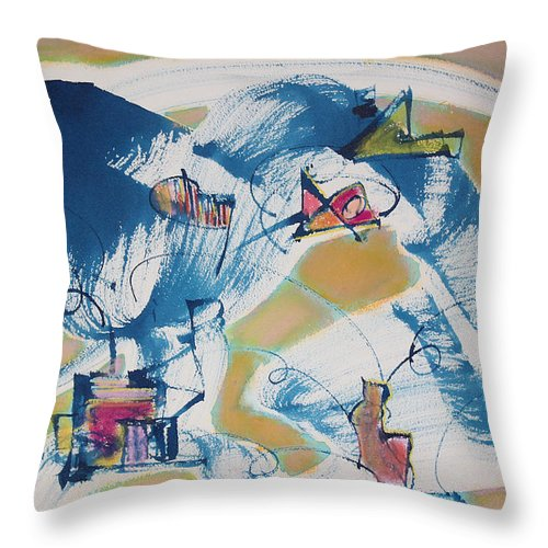 Abstract Painting Throw Pillow featuring the painting Letting Go by Asha Carolyn Young