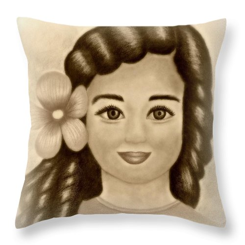 Portrait Throw Pillow featuring the drawing Little Girl With Flower by Monica Vega
