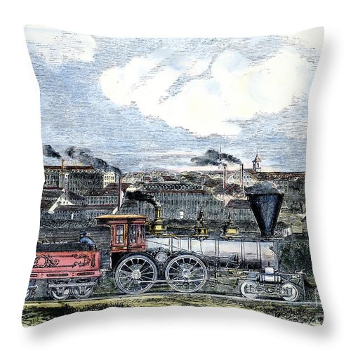 1855 Throw Pillow featuring the photograph Locomotive Factory, C1855 by Granger