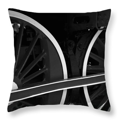 Locomotive Throw Pillow featuring the photograph Locomotive Wheels by Dariusz Gudowicz