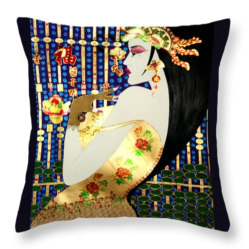 Asian Throw Pillow featuring the painting Ma Belle Salope Chinoise No.13 by Dulcie Dee
