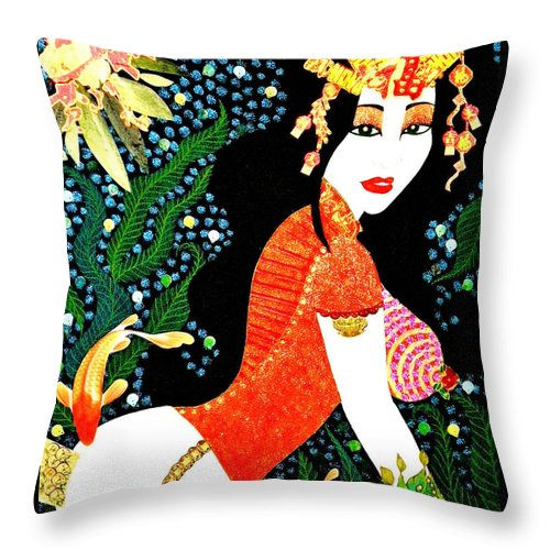 Asian Throw Pillow featuring the painting Ma Belle Salope Chinoise No.15 by Dulcie Dee