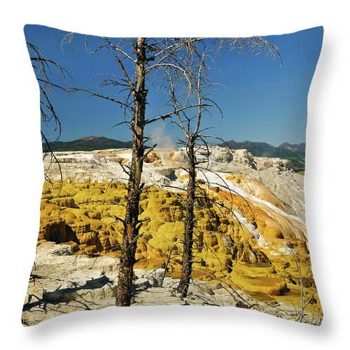 Mammoth Hot Springs Throw Pillow featuring the photograph Mammoth Upper Terrace by Greg Norrell