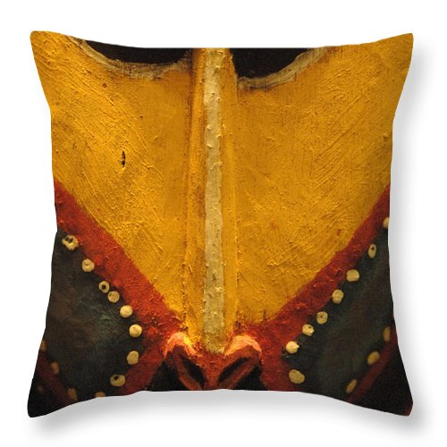Mask Throw Pillow featuring the photograph Maori Mask New Zealand by Bob Christopher