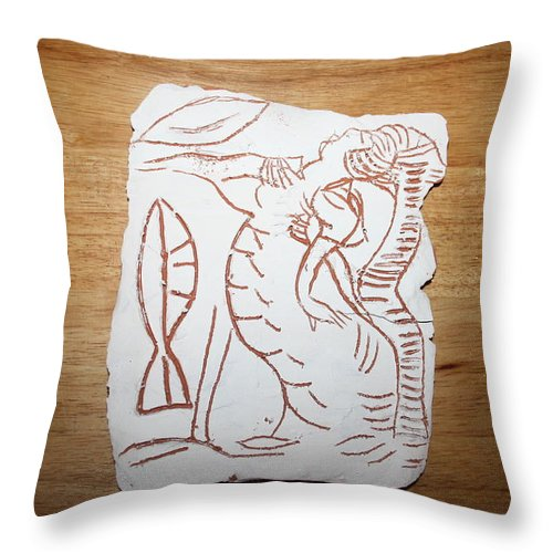 Jesus Throw Pillow featuring the ceramic art Market Seller 3 by Gloria Ssali