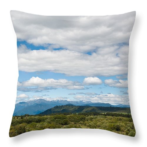 Adventure Throw Pillow featuring the photograph Massive Cloudy Sky Above The Wilderness by U Schade