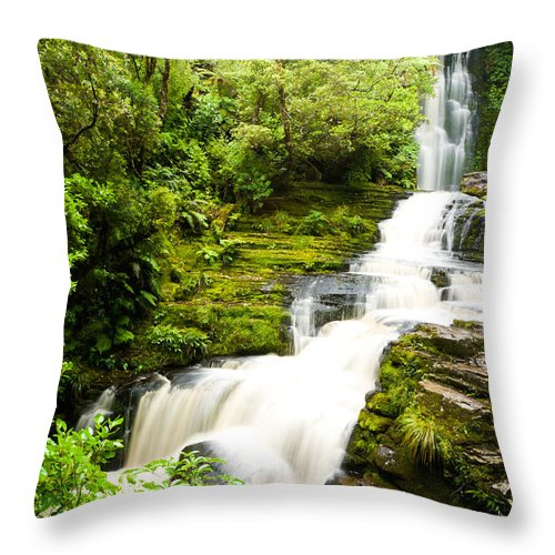 Brook Throw Pillow featuring the photograph Mclean Falls In The Catlins by U Schade