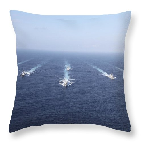 Front View Throw Pillow featuring the photograph Military Ships Transit The Philippine by Stocktrek Images