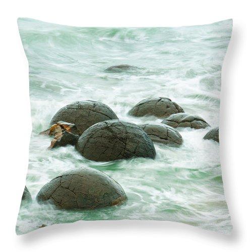 Balls Throw Pillow featuring the photograph Moeraki Boulder East Coast Of South New Zealand by U Schade