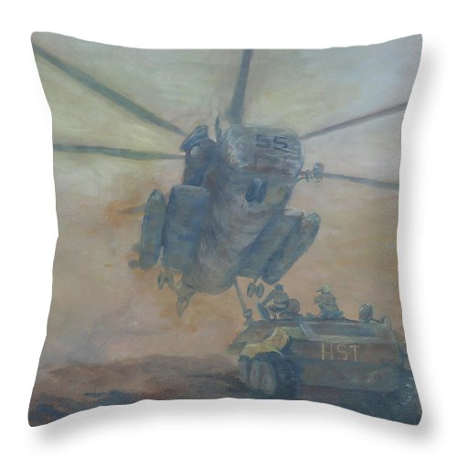 Military Throw Pillow featuring the painting Mom I'm Hungry by Gail Daley