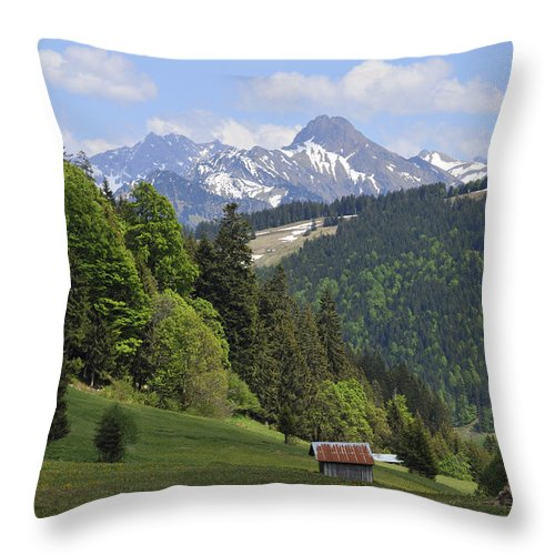 Mountain Landscape Throw Pillow featuring the photograph Mountain Landscape In The Alps by Matthias Hauser