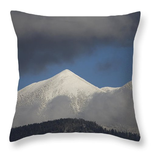 Mountain Throw Pillow featuring the photograph Mt Humphreys Covered In Snow by John Burcham