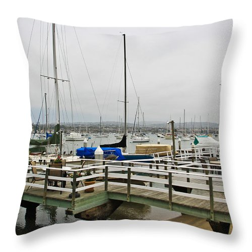 Newport Throw Pillow featuring the photograph Newport Bay And Balboa Island by Heidi Smith
