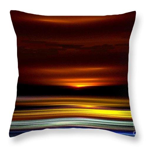Sundown Throw Pillow featuring the digital art Night Falls by Greg Moores