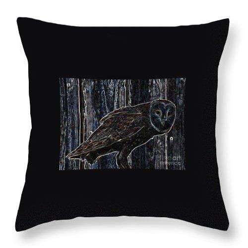 Barn Owl Throw Pillow featuring the photograph Night Owl - Digital Art by Carol Groenen