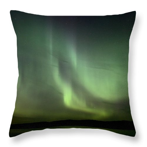 Sky Throw Pillow featuring the photograph Night Shot Northern Lights by Mark Duffy