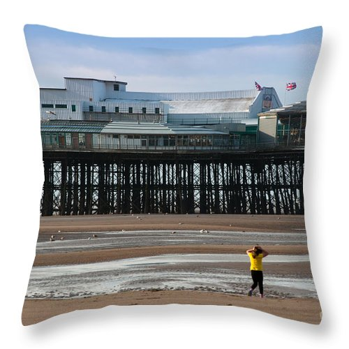 Blackpool Throw Pillow featuring the photograph North Pier by Andrew Michael