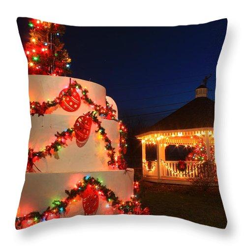 Oakham Throw Pillow featuring the photograph Oakham Massachusetts 250th Anniversary Holiday Lights by John Burk