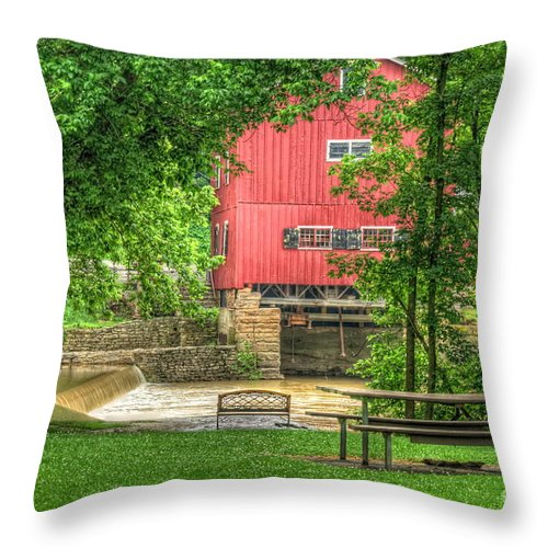Grist Mill Throw Pillow featuring the photograph Old Indian Mill by Pamela Baker