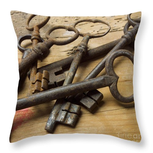 Through Throw Pillow featuring the photograph Old Keys by Bernard Jaubert