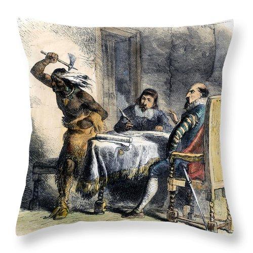 1620 Throw Pillow featuring the photograph Opechancanough by Granger