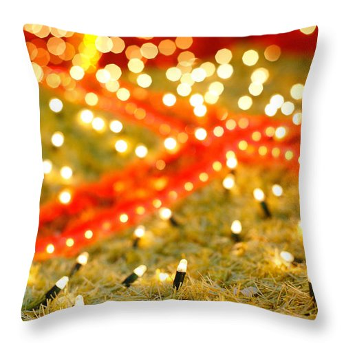 Closeup Throw Pillow featuring the photograph Outdoor Christmas Decorations by Gaspar Avila