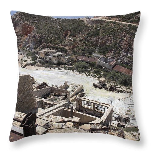 Rock Face Throw Pillow featuring the photograph Paliorema Sulfur Mine And Processing by Richard Roscoe