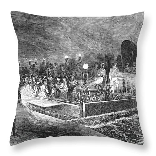 1869 Throw Pillow featuring the photograph Paris: Sewers, 1869 by Granger