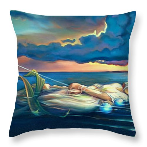 Mermaid Throw Pillow featuring the painting Pavane For A Dead Princess by Patrick Anthony Pierson