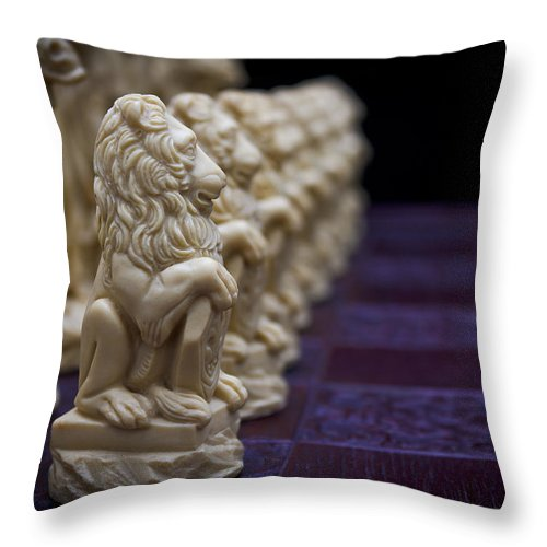 Chess Throw Pillow featuring the photograph Pawns In A Row by Doug Long