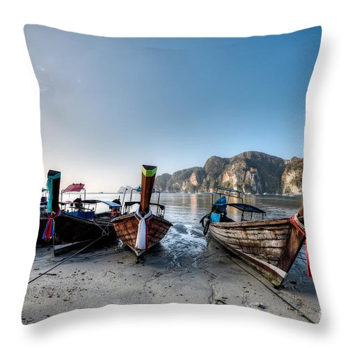 Thailand Throw Pillow featuring the photograph Phi Phi Island by MotHaiBaPhoto Prints