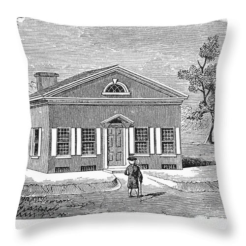 18th Century Throw Pillow featuring the photograph Philadelphia: Library by Granger