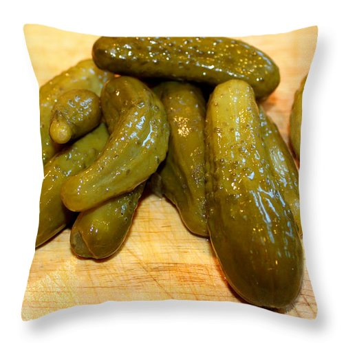 Food Throw Pillow featuring the photograph Pickles by Henrik Lehnerer
