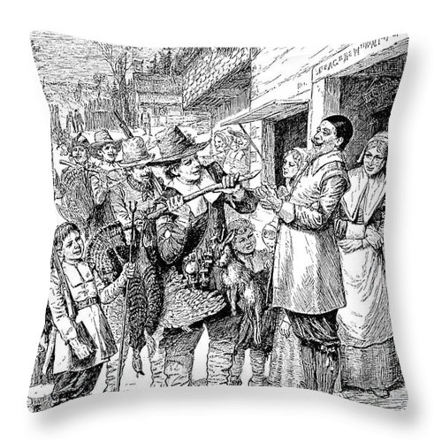 1621 Throw Pillow featuring the photograph Pilgrims: Thanksgiving, 1621 by Granger