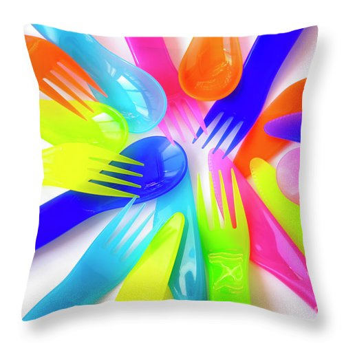 Baby Throw Pillow featuring the photograph Plastic Cutlery by Carlos Caetano