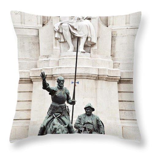 Cervantes Throw Pillow featuring the photograph Plaza De Espana by John Greim