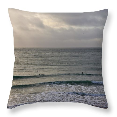 Praa Sands Cornwall Throw Pillow featuring the photograph Praa Sands by Brian Roscorla