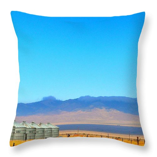 Silos Throw Pillow featuring the photograph Prairie Silos by Jeff Lowe