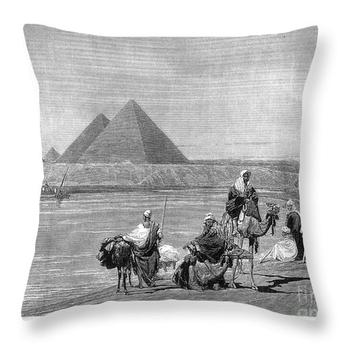 1882 Throw Pillow featuring the photograph Pyramids At Giza, 1882 by Granger