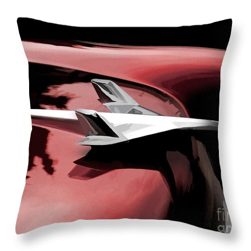 Automotive Throw Pillow featuring the digital art Red Chevy Jet by Douglas Pittman