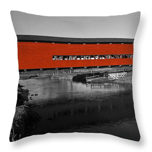 Red Covered Bridge Throw Pillow featuring the photograph Red Covered Bridge by Sally Weigand