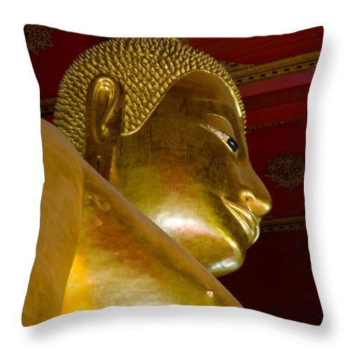Ancient Throw Pillow featuring the photograph Red Roofed Hall With Ornaments And A Tall Golden Buddha Statue by U Schade