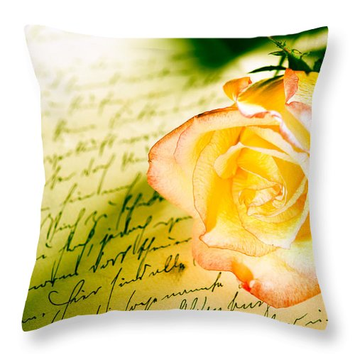 Alliance Throw Pillow featuring the photograph Red Yellow Rose Over A Hand Written Letter by U Schade