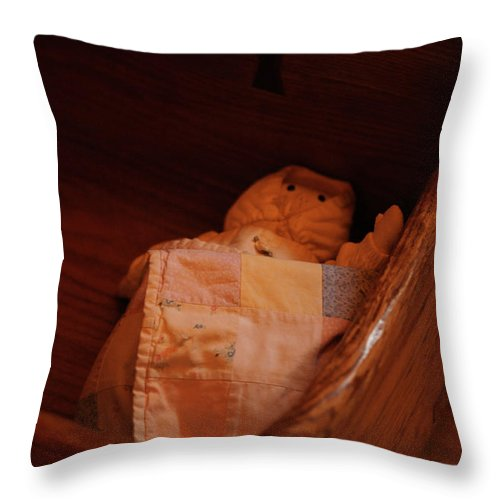 Wooden Cradle Throw Pillow featuring the photograph Rock-a-bye My Baby by Linda Shafer