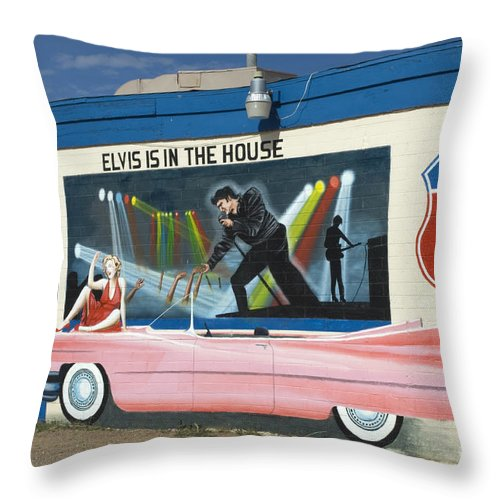 Wurlitzer Throw Pillow featuring the photograph Route 66 Elvis by Bob Christopher