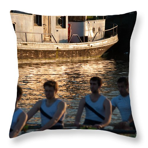 British Throw Pillow featuring the photograph Rowers At Sunset by Andrew Michael