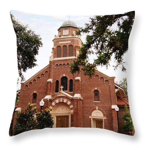 Church Throw Pillow featuring the photograph Sacred Heart Church by Southern Tradition