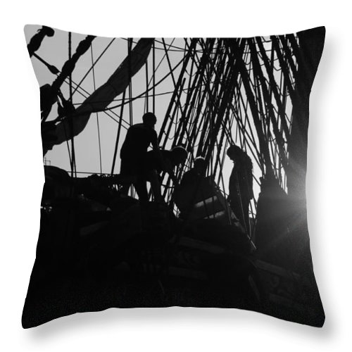 Silhouette Throw Pillow featuring the photograph Sailors At Sunset by Ulrich Kunst And Bettina Scheidulin