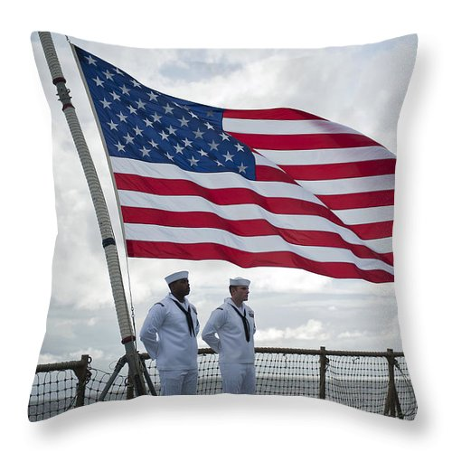 Uss Pearl Harbor Throw Pillow featuring the photograph Sailors Stand At Parade Rest by Stocktrek Images
