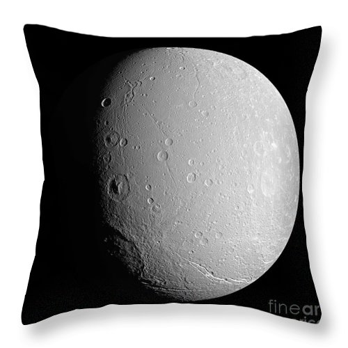 Basin Throw Pillow featuring the photograph Saturns Moon Dione by Stocktrek Images